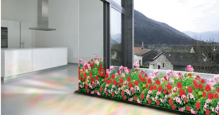 raamfolie bloemen geraniums