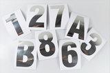 Huisnummer/container stickers Zilver RVS-look 10 CM_