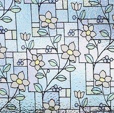 Statisch raamfolie glas in lood bloem (46cm)