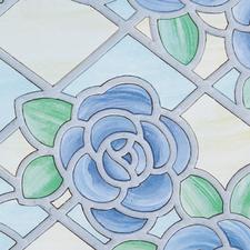 Raamfolie bloemen rustiek blauw (45cm)