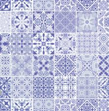 Plakfolie blauwe tegeltjes (45cm)