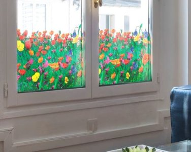 Raamfolie papavers voor HR++ glas